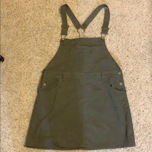 Green corduroy overall dress